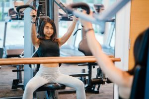asian lady working out in gym